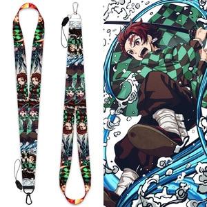 Anime Demon Slayer: Kimetsu no Yaiba Lanyards Neck Strap Phone Keys ID Card Holder For Keys DIY Hanging rope cosplay Accessories