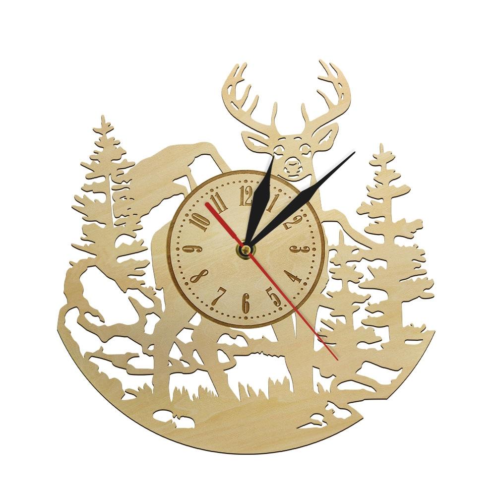 Ciervo Animal salvaje Reloj de pared de madera movimiento silencioso reloj cabaña Ranch decorativo ciervo caza pared arte granja Hunter regalo