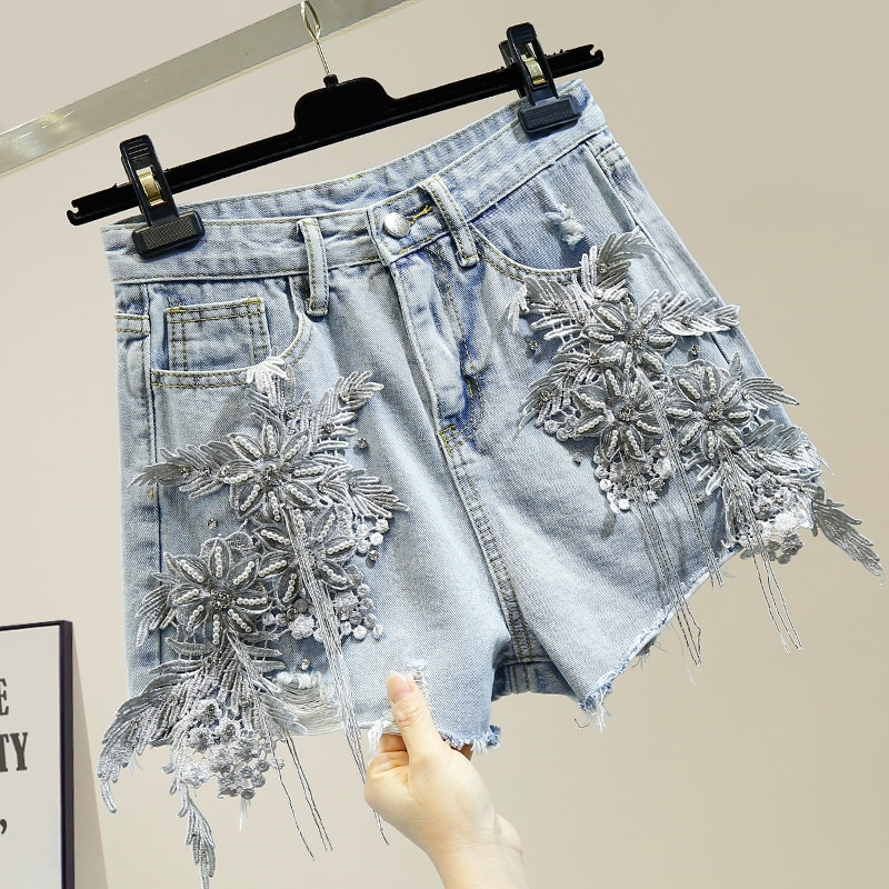 Heavy Industry Diamond Dimensional Flower Tassels Ripped Burr Wide Leg Denim Shorts 2020 New Style High Waist Short Harajuku