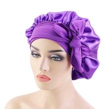 Hair Bonnet For Sleeping Hats Female Bandana Hair Scarf Latest Turban Faux Silk Wide Brim Ribbon Hai