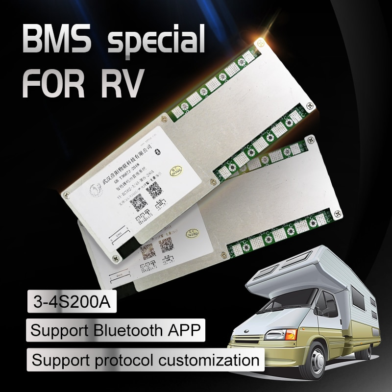 BMS 3S 4S 200A Peak 400A PCB Ternary LiFePo4 Bluetooth RS485  CAN Communication Battery Protection Board RV High Current