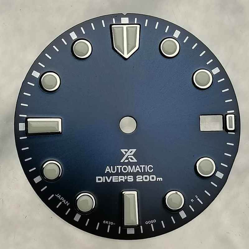 Watch Parts 28.5mm Green/Blue/Brown Watch Dial Luminous Marks Suitable For NH35/4R35 Automatic Movement enlarge