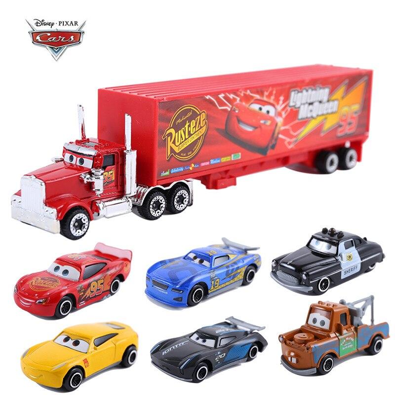 Disney-Coche de Pixar 3, modelo de coche de juguete de Metal fundido a presión 155, Lightning McQueen Jackson, Tío Mike Truck, Disney cars 3, Regalo de Navidad