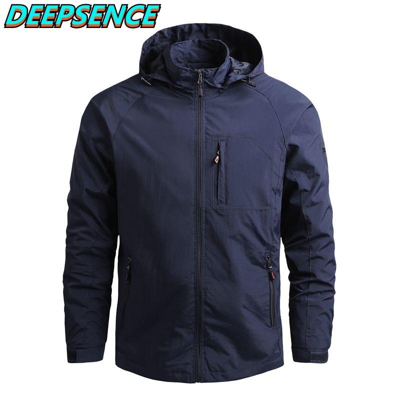 Spring Autumn Fashion Casual Military Thin Jacket Men Solid Zipper Pocket Waterproop Hooded Coat Str