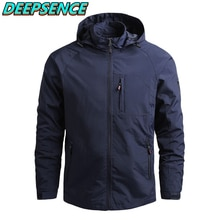 Spring Autumn Fashion Casual Military Thin Jacket Men Solid Zipper Pocket Waterproop Hooded Coat Str