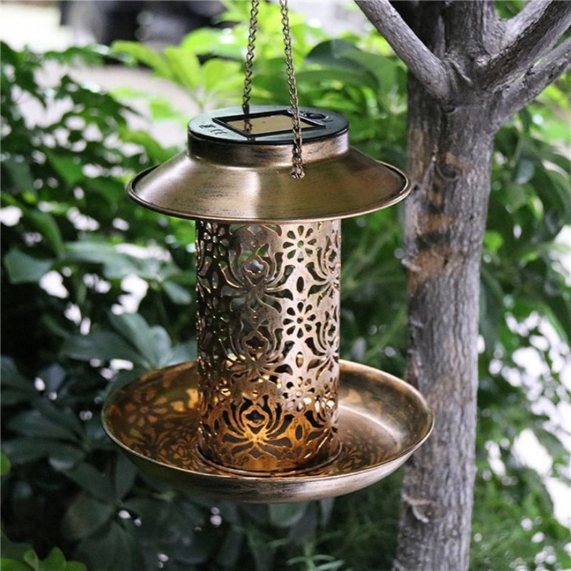 Solar Bird Feeder, Metal Wrought Iron Hollow Lantern Antique Hanging Garden Decoration