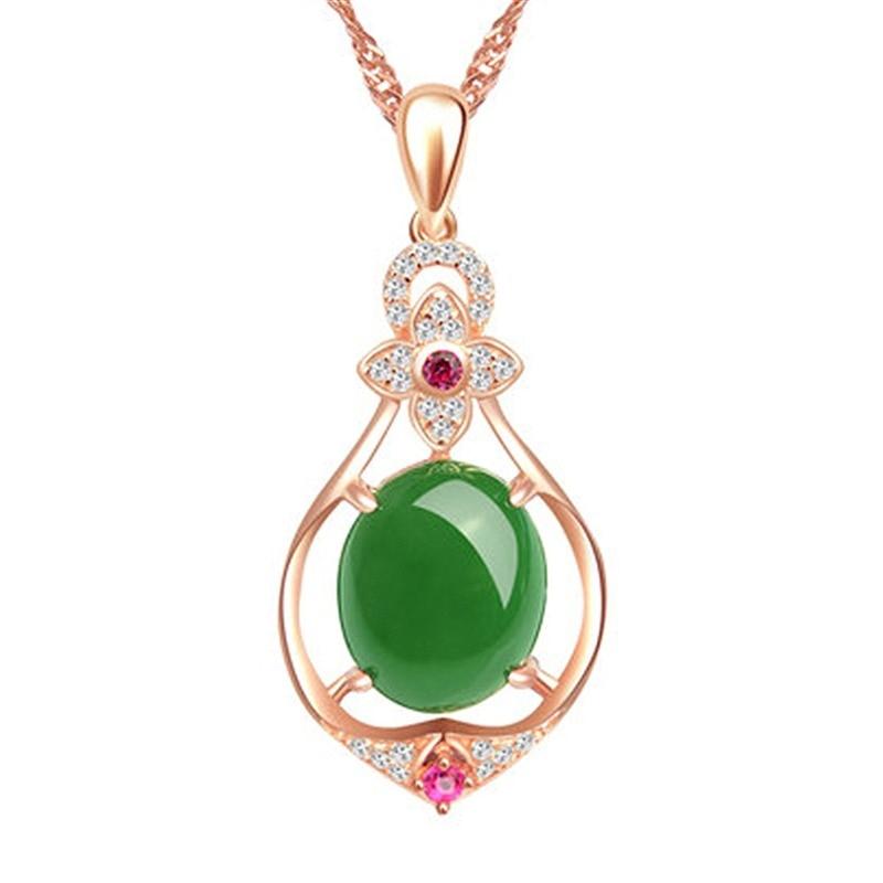 Colar feminino pingente verde ágata chalcedônia ovo 925 prata rosa banhado a ouro pingente presente para jóias finas femininas