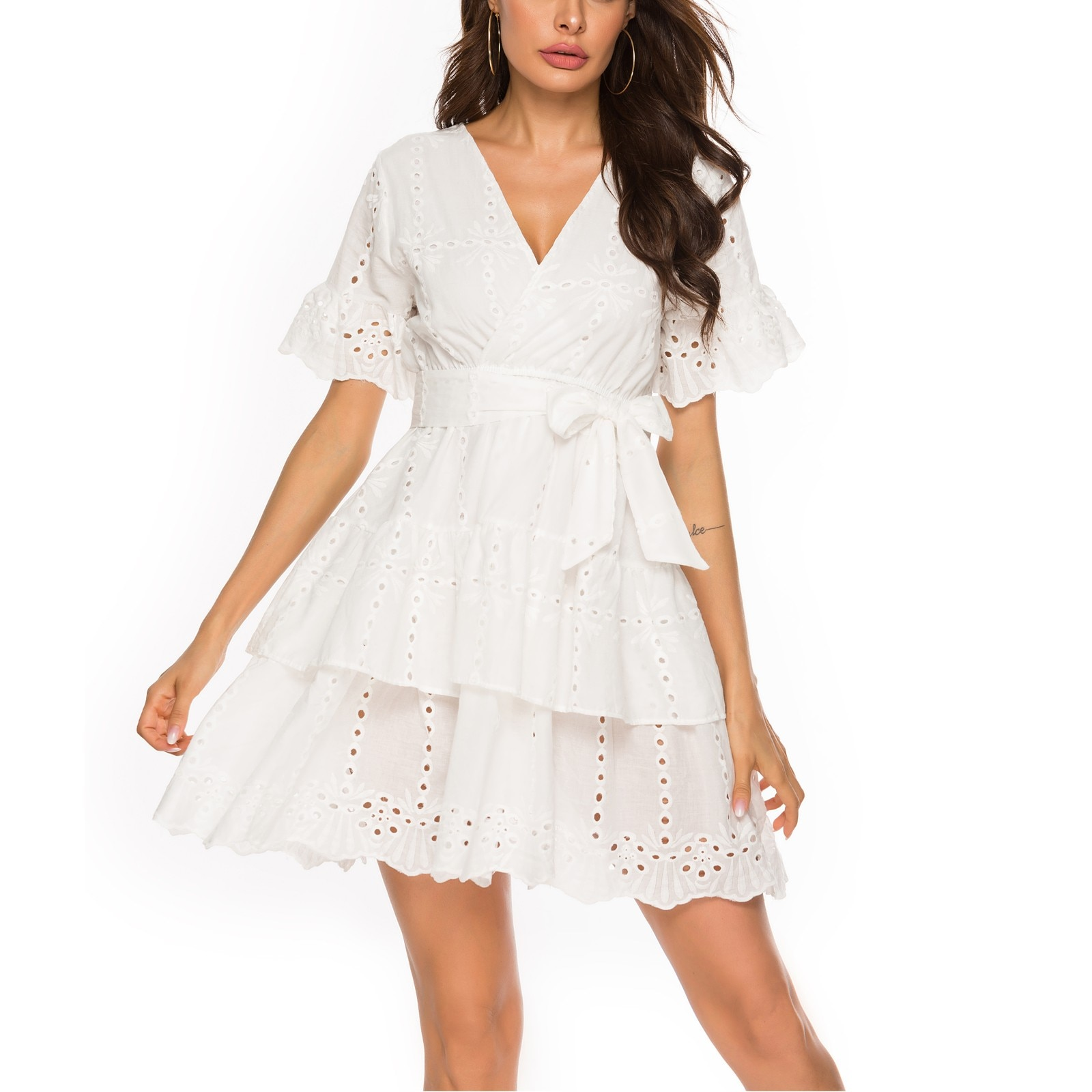 40# Lace Embroidery Dress Short Sleeve V-neck Hollow Out Mini Dress Holiday Beach Ruffle Dresses For Women 2021 Elegant Vestidos