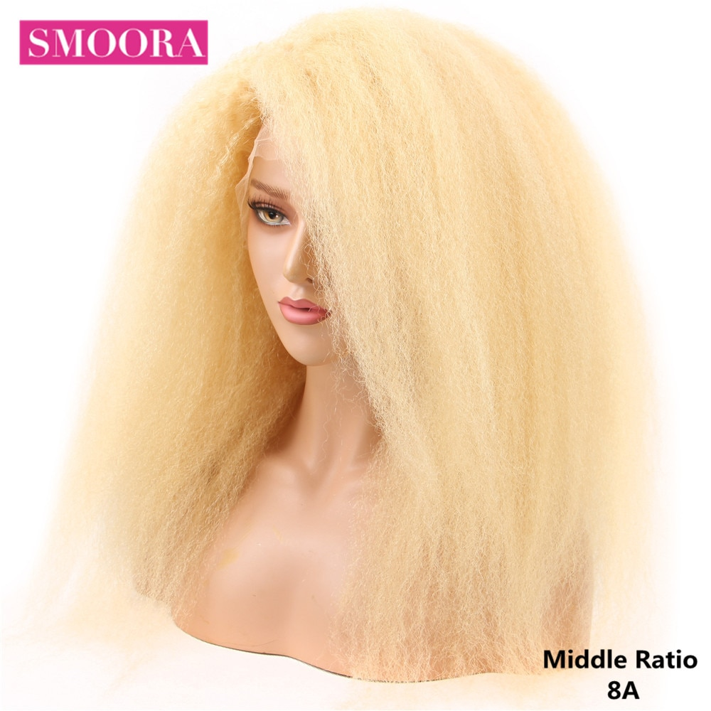 Kinky Straight 13x4 Lace Front Wigs 100% Mongolian Human Hair 613 Blonde Colored Lace Front Wig 150% Density Remy Hair Smoora