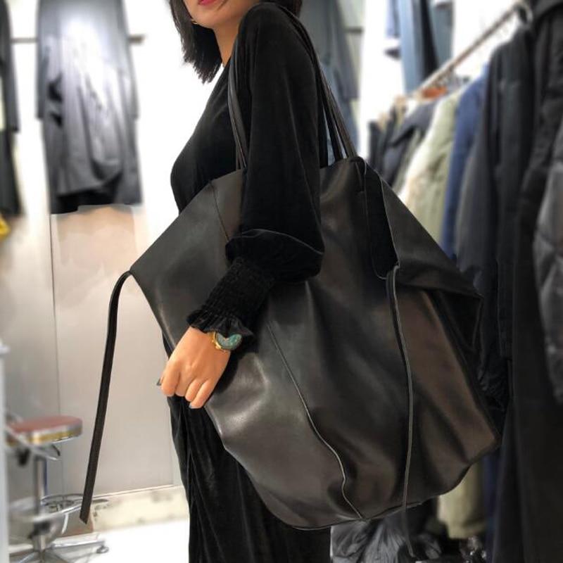 Original Leather Bag Tote 100% Natural Real Cowhide Handbags Vintage Simple Design Solid Shoulder Bags Cool Large Tote for Women