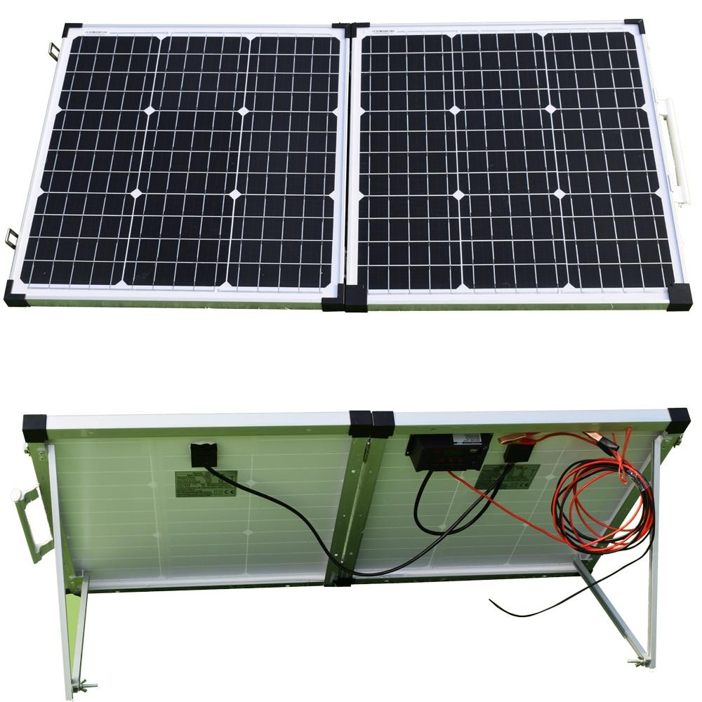 100W (2 قطعة 50W) طوي الشمسية لوحة 12V الضوئية بطارية شاحن 23% وحدة كفاءة النظام برمته أطقم