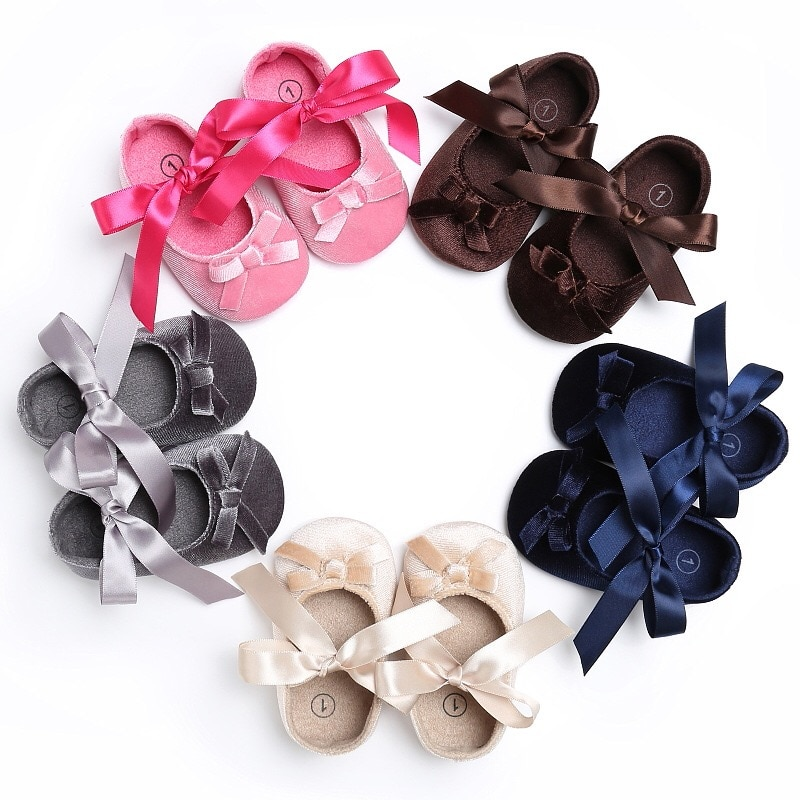 Princess Baby Shoes Newborn Baby Girls Soft Shoes Soft Soled Non-slip Bowknot Footwear Crib Shoes 2020