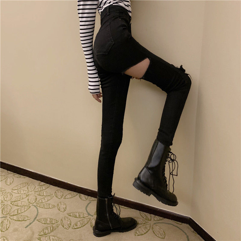 Sexy Black Denim Jeans for Women Skinny High Waist Jeans Destroyed Knee Holes Pencil Pants Trousers Stretch Ripped Trousers fashion jeans pants women low waist elastic destroyed hole frayed leggings джинсы plus size denim shorts knee ripped trousers