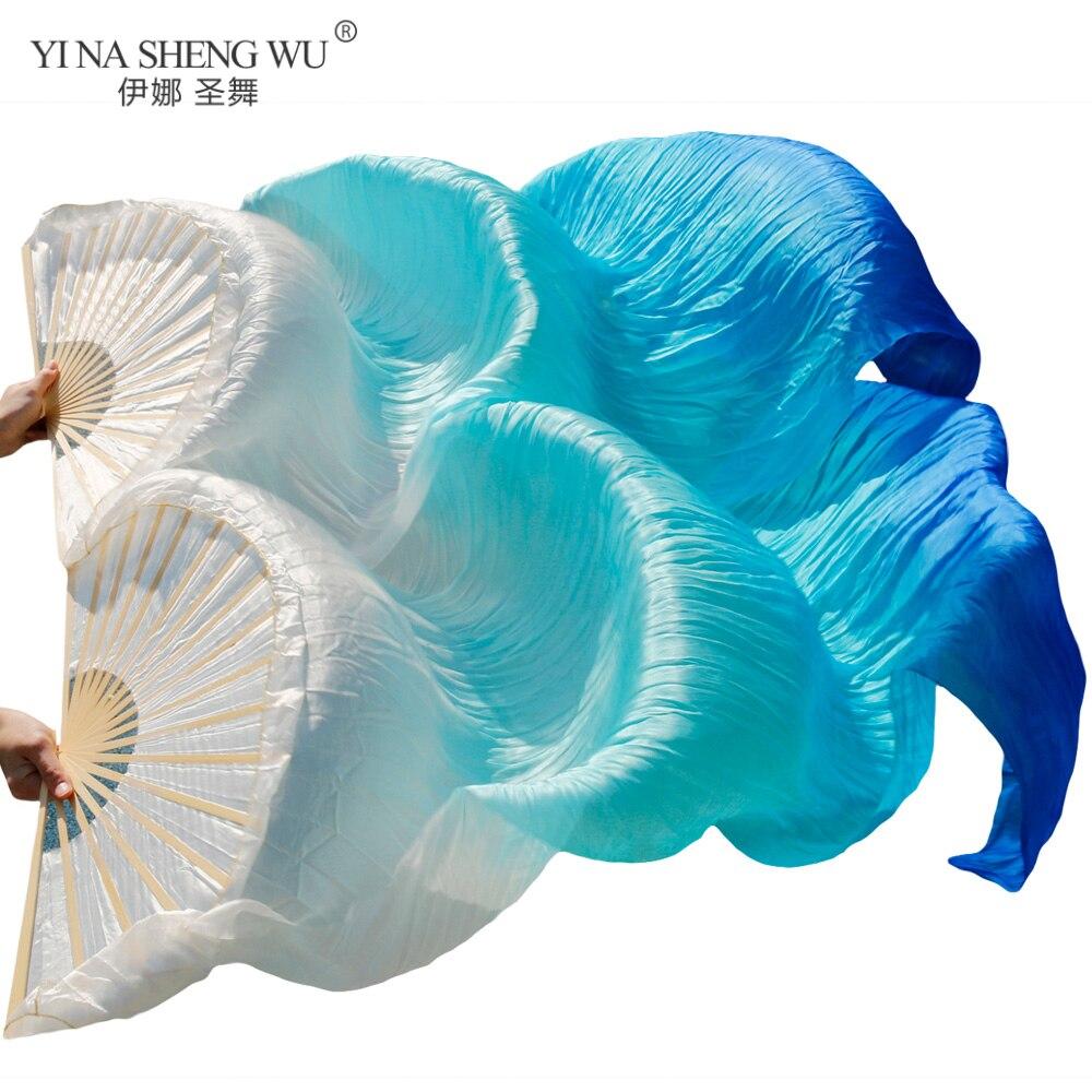 100% real/imitação de seda dança do ventre fãs de seda 1 par artesanal tingido seda dança do ventre longo fã chinês fãs véu 24 cores