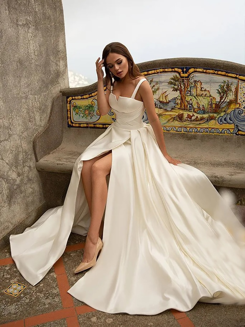 Get Satin Simple Minimalist Wedding Bride Dress Low Cut Sexy High Split Lace Up Bridesmaid Long Bridal Gown With Train Custom Made