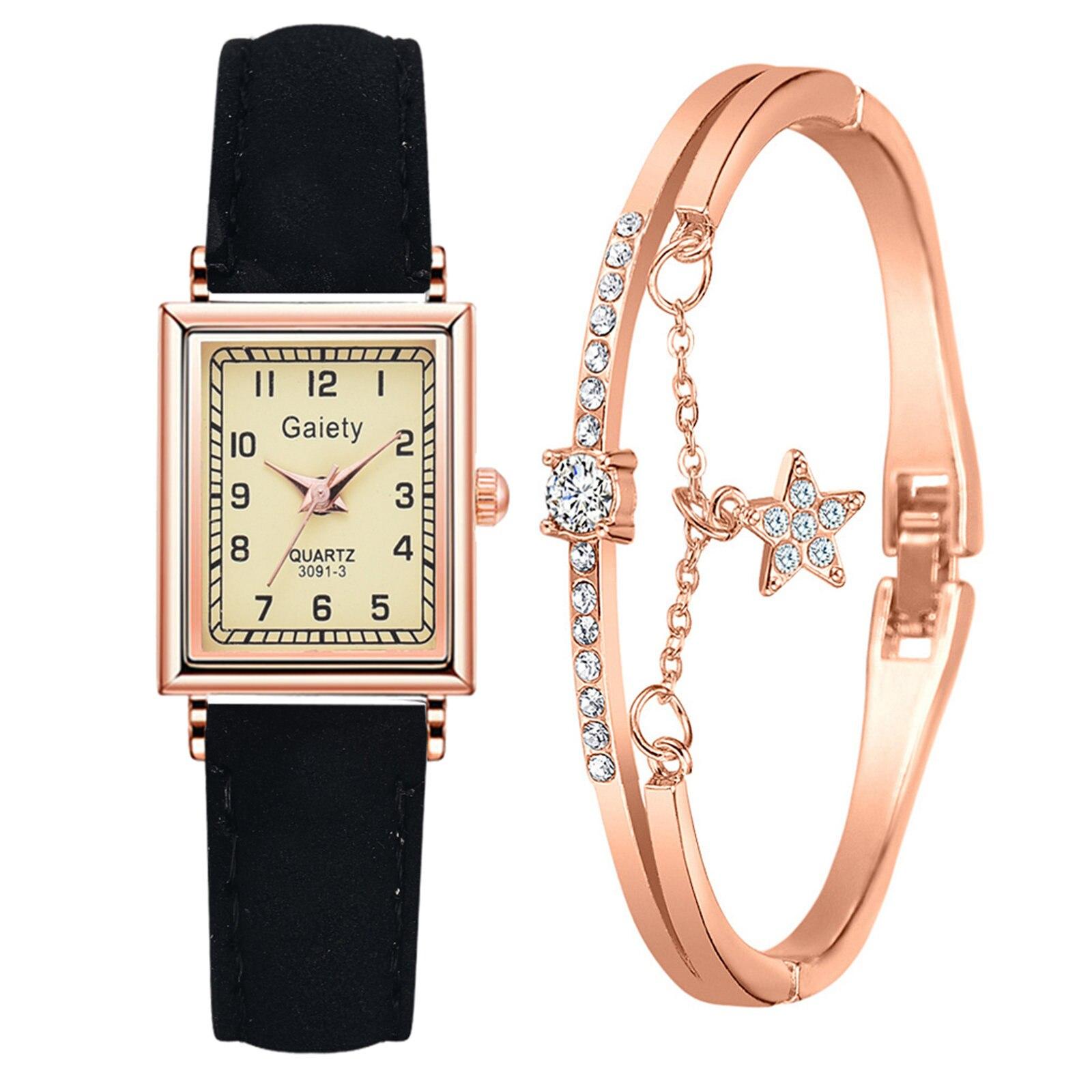 Fashion Women Watch Luxury Rose Gold Watches Leather strap Ladies Casual Watch With Bracelet Jewelry часы женские наручные W1 часы наручные женские taya цвет черный t w 0065 watch gl black