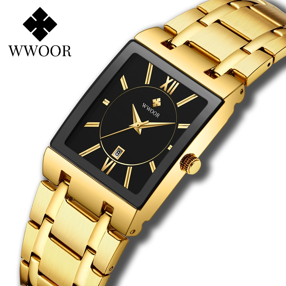 WWOOR Luxury Gold Black Watch For Women Fashion Square Quartz Watch Ladies Dress Wrist Watches Top Brand Sport Clock reloj mujer enlarge