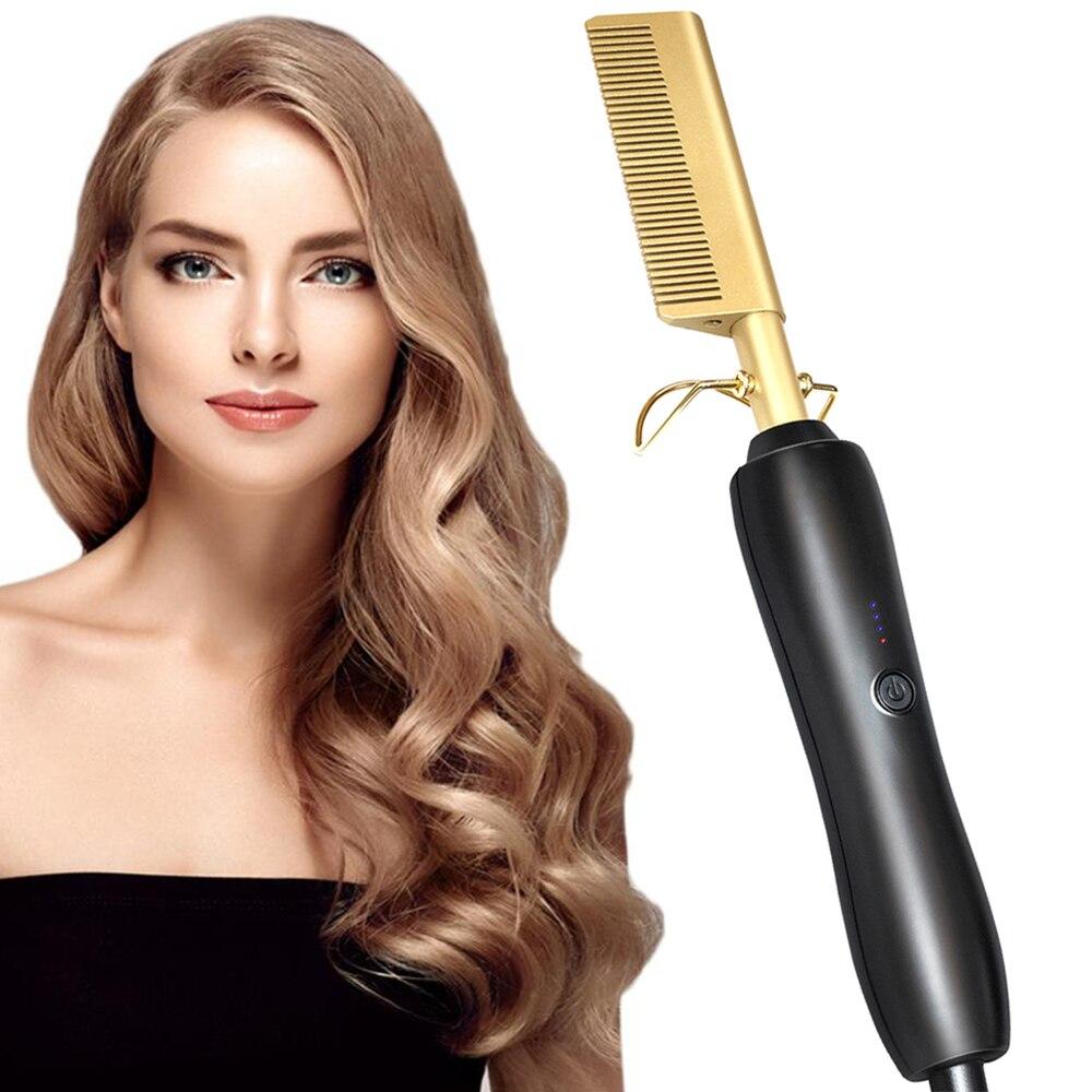 Varita de Peine eléctrico, rizador de pelo, rizador de pelo, peine caliente, peine eléctrico alisado en caliente, cuidado del cabello, aleación de titanio