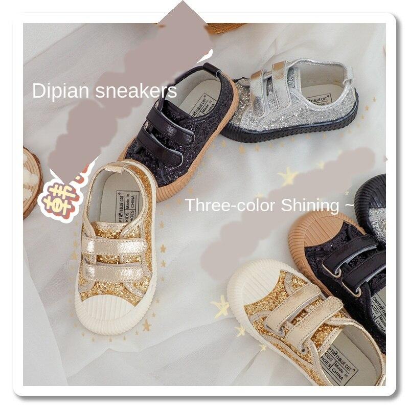 Nuevos zapatos de lona de 3 colores brillantes para bebé versión coreana, zapatos anticolisión para niños y niñas, zapatos suaves para niños, deslizamiento de Velcro