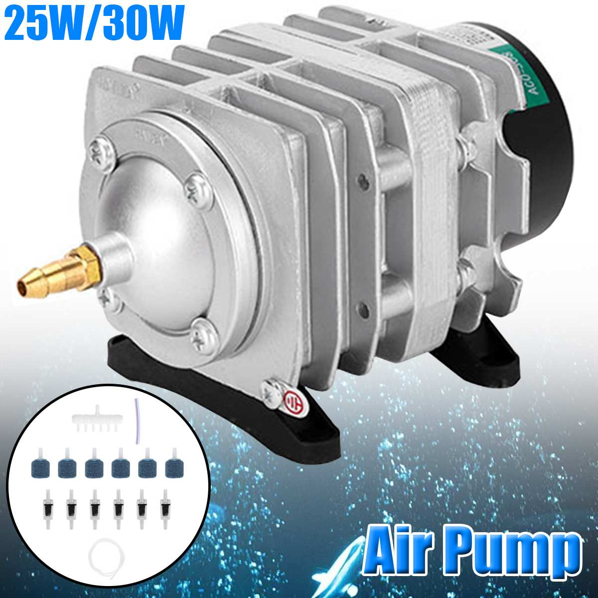 Compresor de aire electromagnético para acuario 82L/min, bomba de aire para tanque de peces, bomba de aumento de oxígeno HAILEA