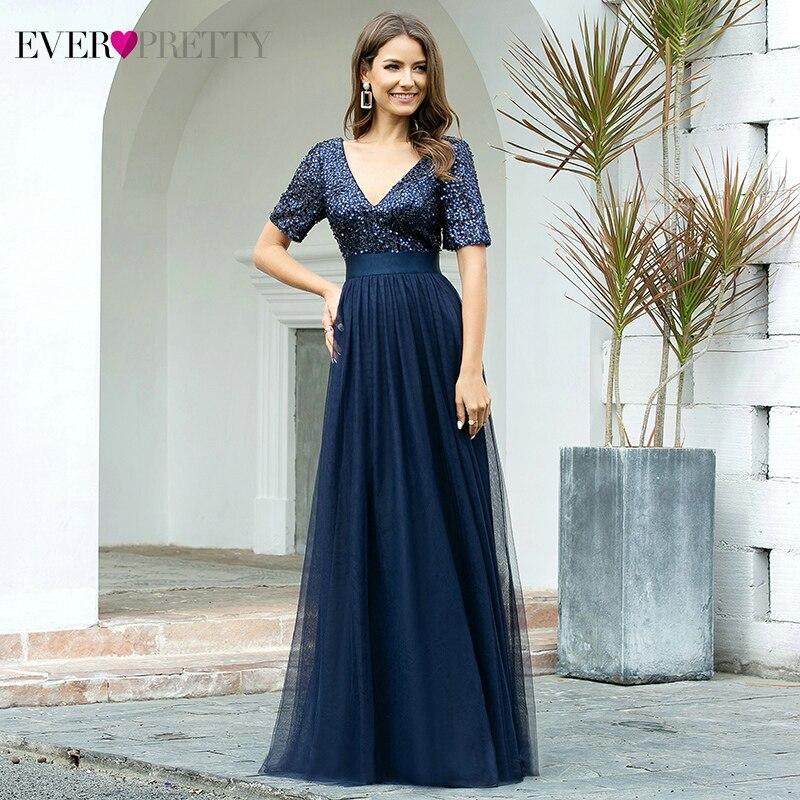 Navy Blue Evening Dresses Ever Pretty A-Line Double V-Neck Short Sleeve Sequined Sparkle Formal Party Gowns Vestidos Elegantes