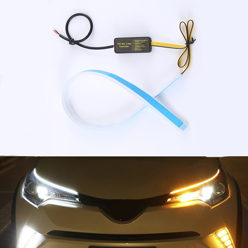 2x para mitsubishi pajero montero esporte asx dinâmico tira led carro farol adesivo drl luzes diurnas turno lâmpada de sinal