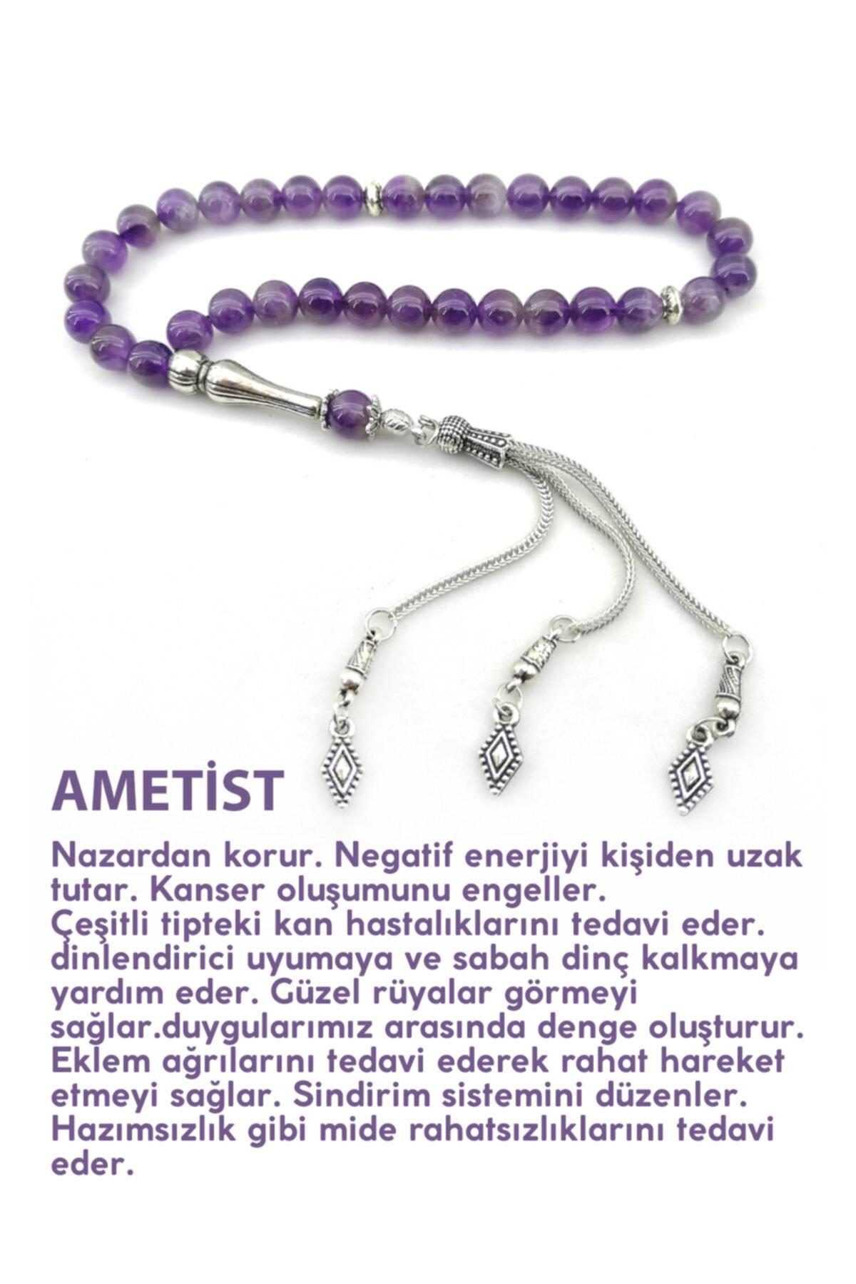 OTTOMAN NATURAL STONE Amethyst Natural Stone Rosary Metal Facade Turkish handmade custom design rosary