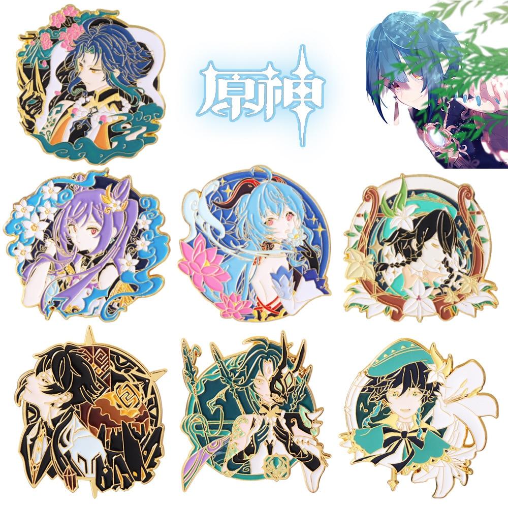 aliexpress.com - Big Size Game Genshin Impact Pins Brooch Ganyu Keqing Wendi Xiao Figure Enamel Badge Brooches Lapel Pin Jewelry