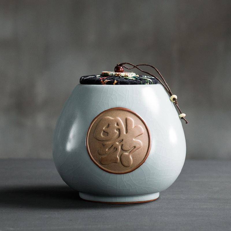 Estilo chino caso café té de azúcar cerámica de contenedor prueba de humedad contenedores de té botellas de almacenamiento de cocina de almacenamiento de escritorio botella