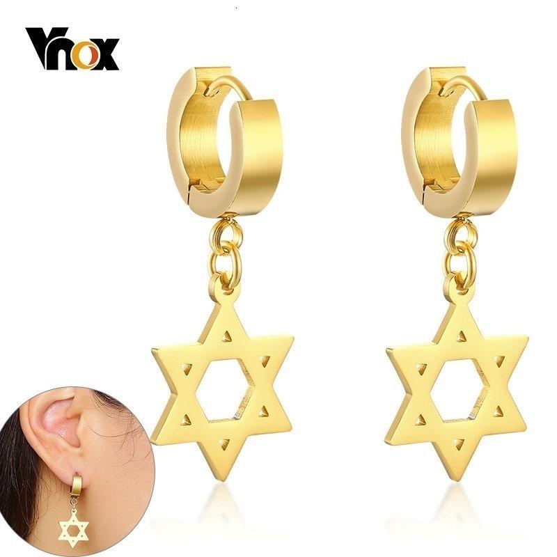 Vnox estrella de David pendientes colgantes para Mujeres Hombres Acero inoxidable Israel hexágono gota pendientes diario Boucles doreilles