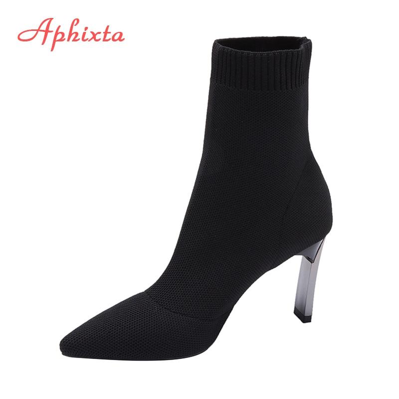 Aphixta-حذاء نسائي بكعب عالٍ ، حذاء أسود منسوج مرن ، معدن أنيق ، كعب عالي ، مدبب