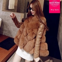 S-XXXXL Plus size Winter Women's Import Whole FAUX Fox Fur jacket High-Grade Faux Fur Coat Leisure S