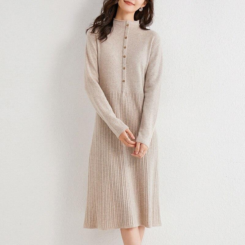 Кашемировый свитер LHZSYY 2020, женское Новое базовое платье, вязаное длинное осенне-зимнее платье выше колена из 100% шерсти с высоким воротником,...