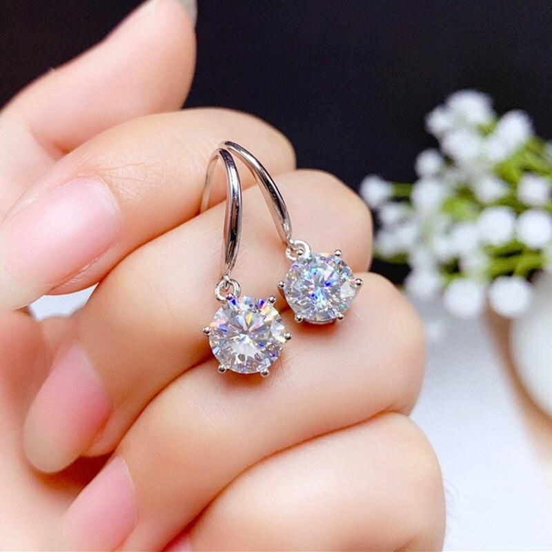 حقيقي مويسانيت انخفاض القرط ل حفل زفاف أنثى هدية 0.5ct 1ct 2ct vvs مختبر الماس غرامة مجوهرات الملكي 925sterlingsilver