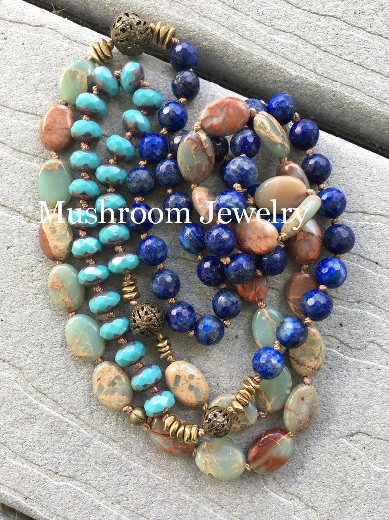 موضة البوهيمي مجوهرات الطبيعية حجارة بلورية معقود حجر القلائد النساء بوهو هدية انخفاض الشحن