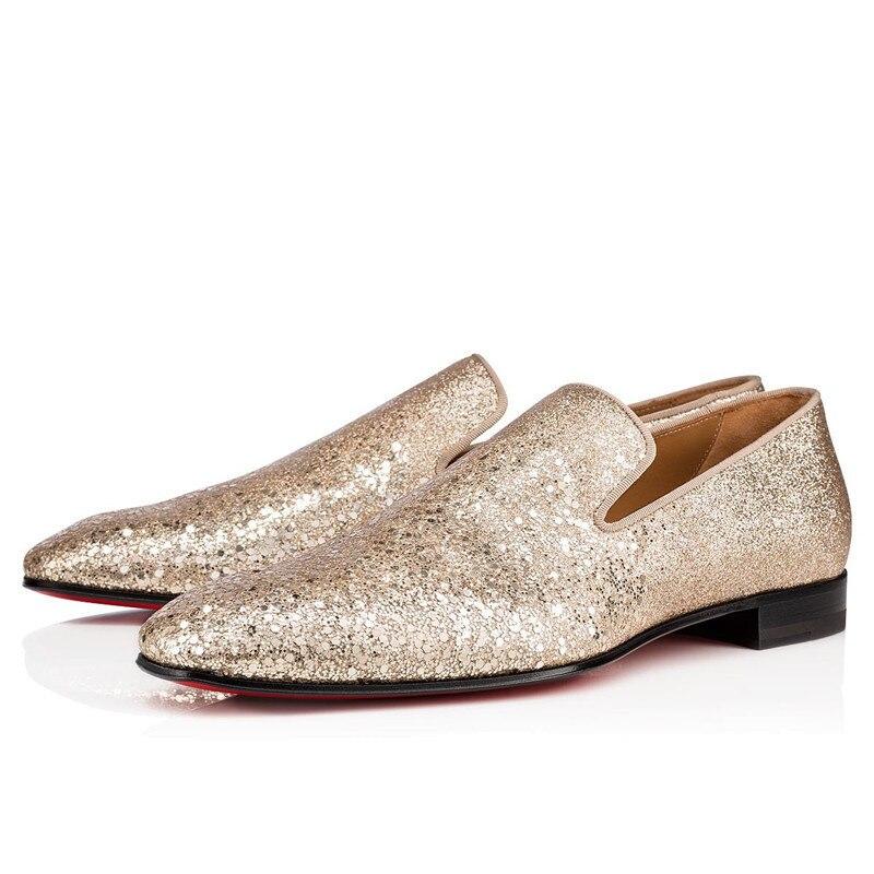 حذاء جلد لامع ذهبي للرجال ، حذاء موكاسين بمقدمة مربعة على الطراز البريطاني ، للولائم وحفلات الزفاف