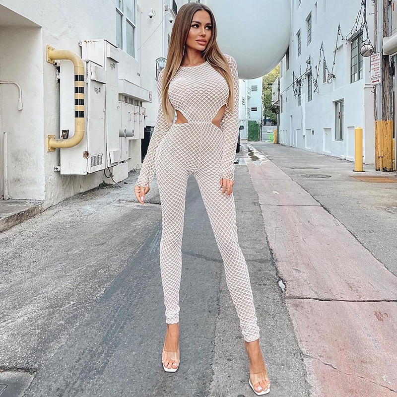 OEM Fishing Net Hollow Out Sexy Women's Jumpsuits Long Sleeve Grid Transparent Skinny One Piece Casu