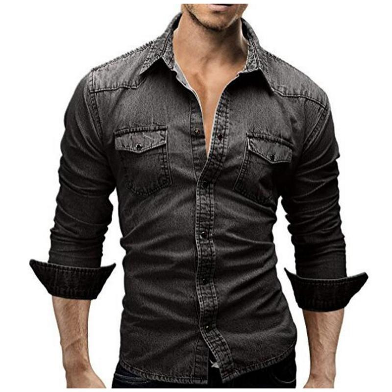 Denim Shirt Men  Male Retro Long Sleeve Brand Casual Camisa Hombre M-XXXL Laipelar