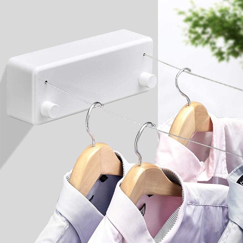 رف تجفيف الملابس في الهواء الطلق حبل تخزين المنزل 2 حبل تلسكوبي الفولاذ المقاوم للصدأ داخلي قابل للسحب الغسيل جدار تجفيف الرف