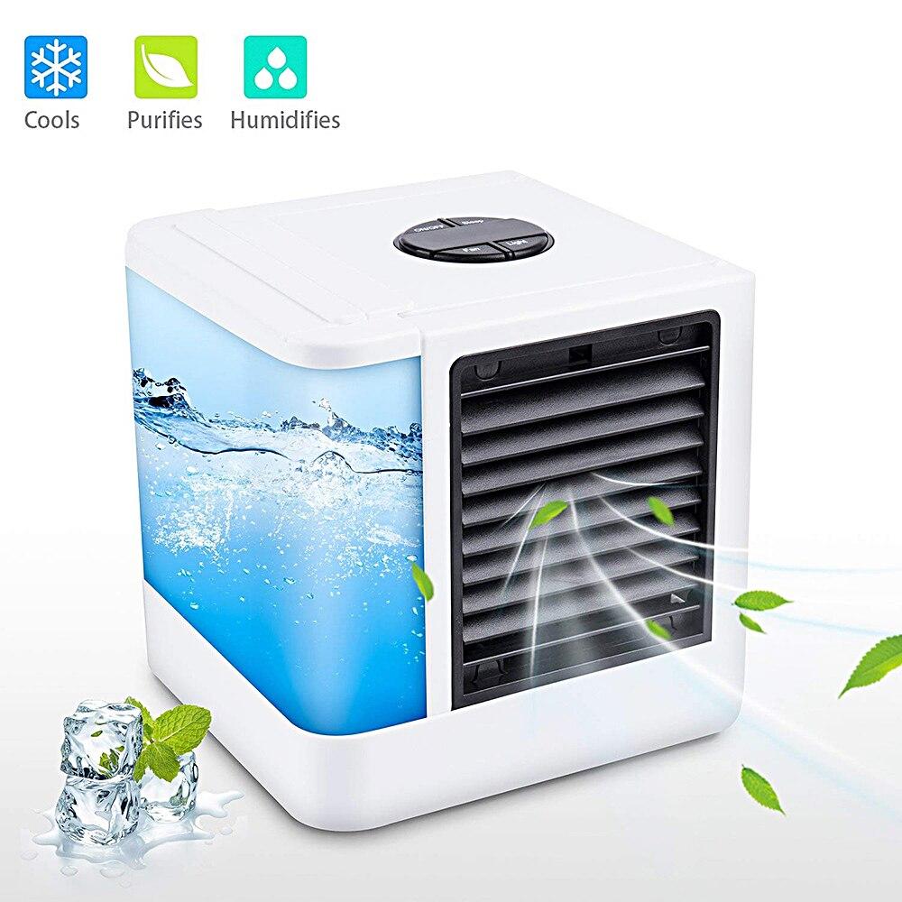 7 colores Mini aire acondicionado portátil humidificador purificador USB aire luz fría escritorio refrigerador de aire enfriador de aire para la habitación
