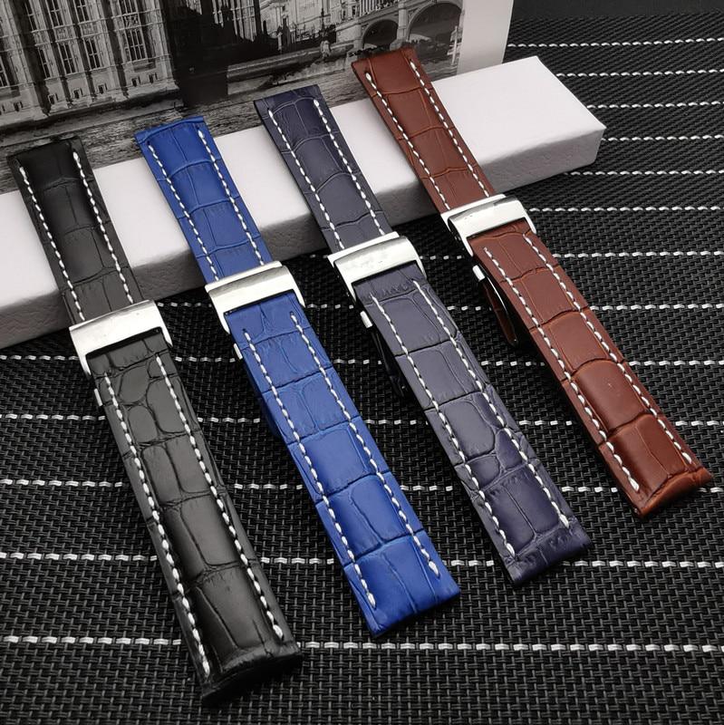 20mm 22mm 24mm Luxury Genuine Leather Watch Band  For Breitling strap for NAVITIMER WORLD Avenger/navitimer belt with logo