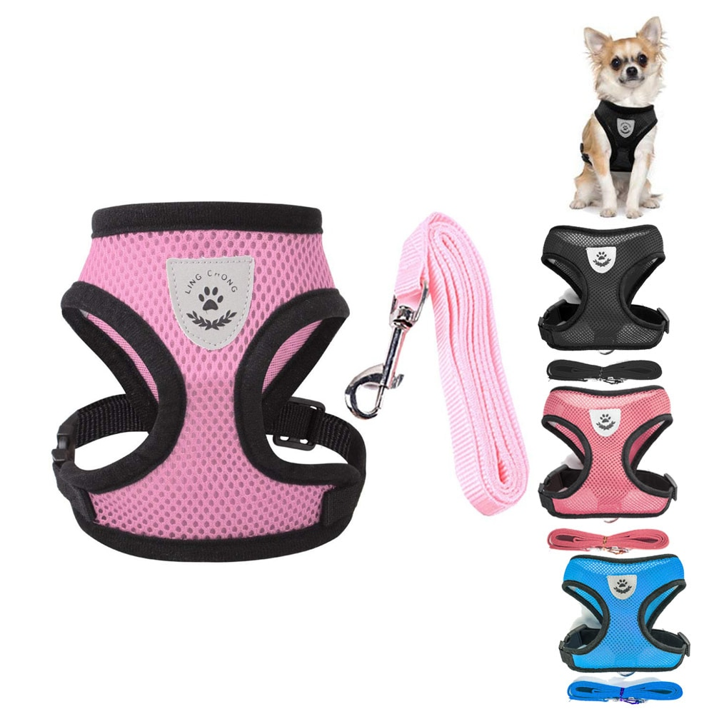 AliExpress - Breathable Mesh Pet Vest Harness and Leash Set Small Dog Puppy Cat Vest Harness Collar For Chihuahua Pug Bulldog Cat arnes perro