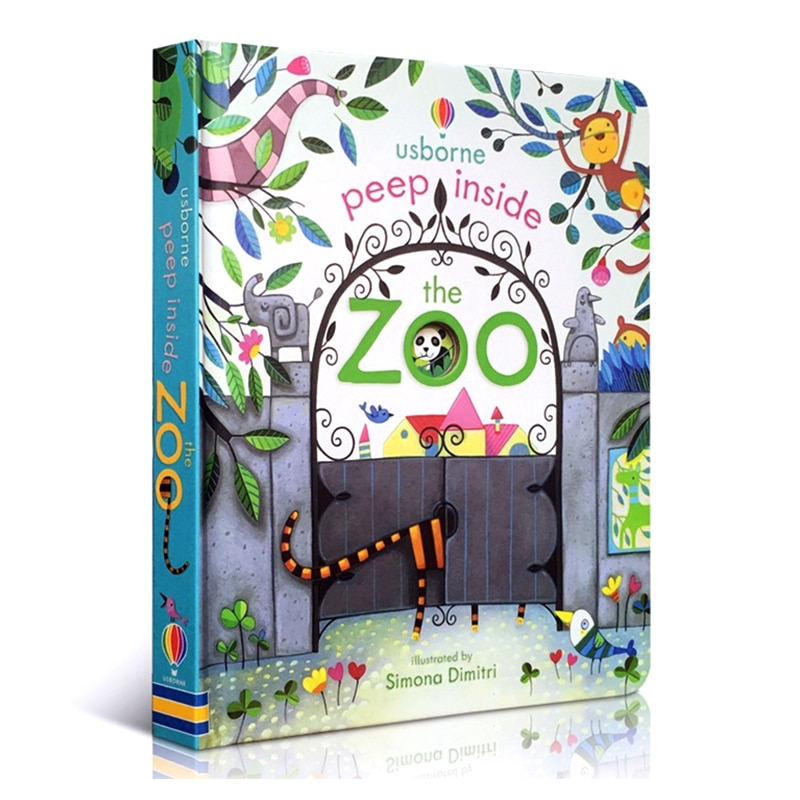 Peep Inside The Zoo Animal English Educational 3D Flap Picture Books Baby Children Reading Book недорого