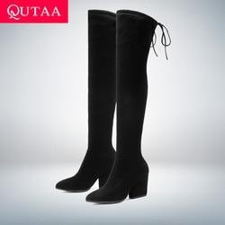 Женские высокие сапоги QUTAA, осенне-зимние сапоги из флока с острым носком на каблуке-копыте, размер 34-43, 2020