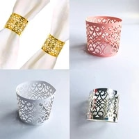 50pcs lace flower style ring napkin ring laser cut napkin buckle hollow out paper jam napkins storage rack home kitchen supplies