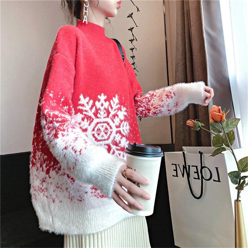 2020 flocon de neige polaire broderie Pull femmes mode lapin cheveux épaissir chaud Pull Pull haut tricoté Pull Hiver Femme