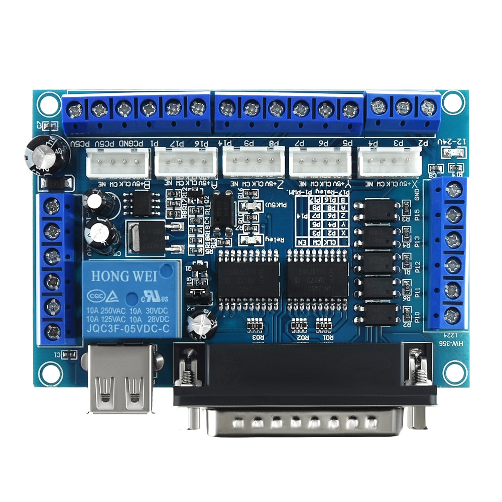 5 axis CNC Breakout Board for Stepper Motor Driver MACH3 Parallel Port Control 4 axis cnc breakout board parallel stepper motor driver module lv8727