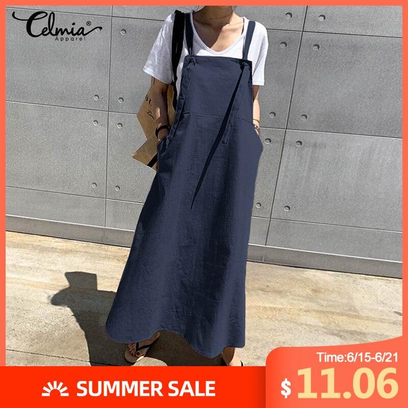 Летнее льняное длинное платье, Повседневное платье с фартуком, Модный женский сарафан, комбинезон на подтяжках, макси Vestidos, халат размера плюс, 2020