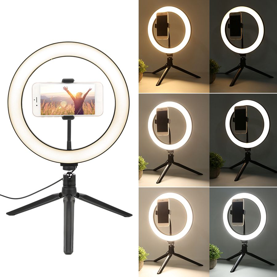 10 Inch LED Dimmable Makeup Three Modes Desktop Selfie Ring Fill Light for Live Video with Tripod Mobile Phone Bracket Fill Ligh enlarge