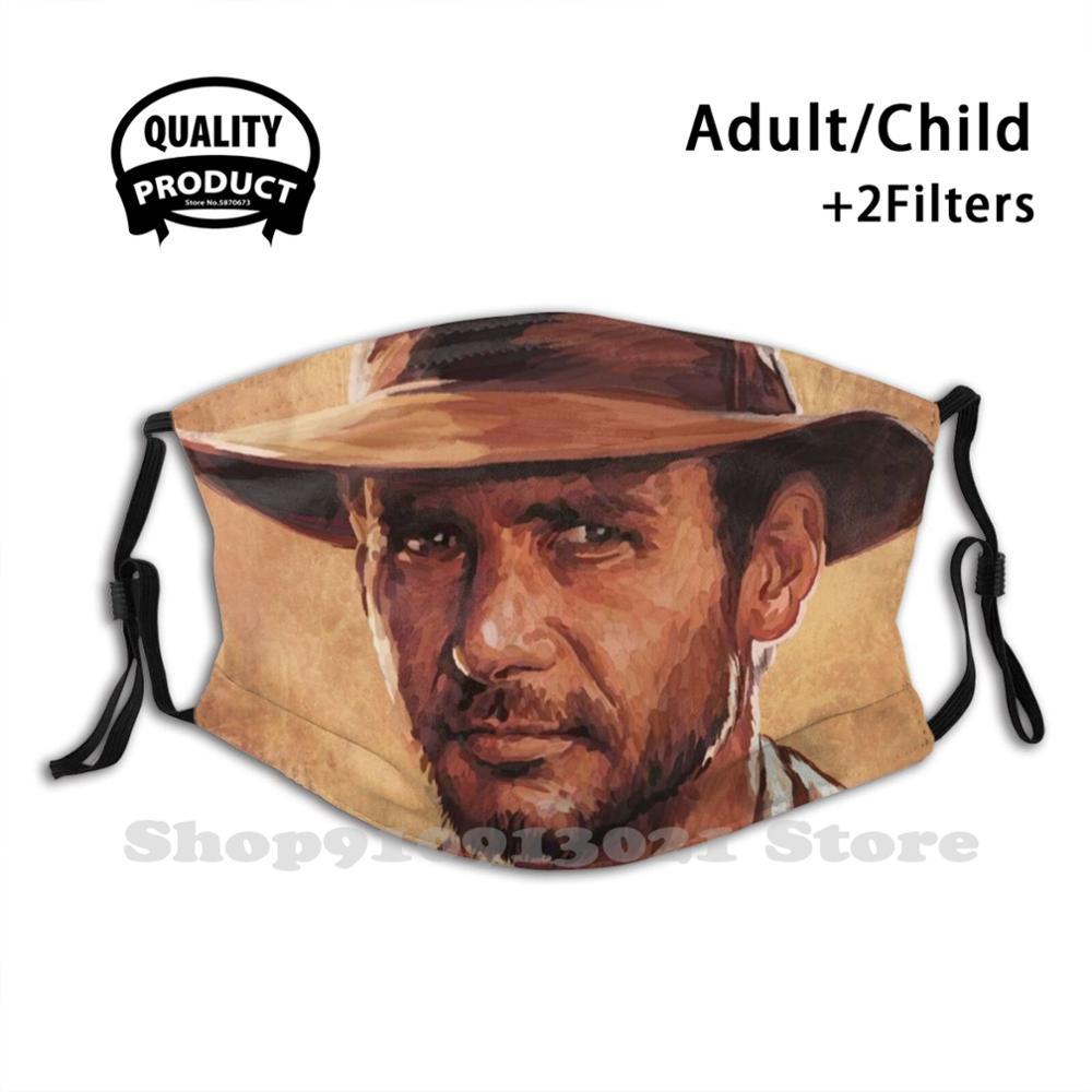 Indiana Jones | Harrison By Sam Ohana Fashion Funny Design Black Reusable Masks Indiana Jones Harrison Fedora Movie Celebrity